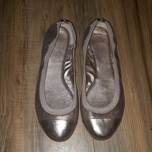 Coach Rose Gold leather ballet flats sequin size 9